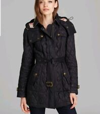 Burberry Brit 'Finsbridge' Belted Quilted Jacket  Color Black Size Small