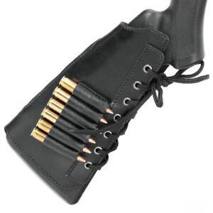 Shotgun Shell Cartridge Buttstock Holder Cheek Rest 7.62 GA 6 Loops Leather Ammo