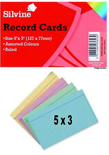 "Silvine Record Cards 5"" X 3"" Ruled Revision/Flash/Index cards Assorted Colours"