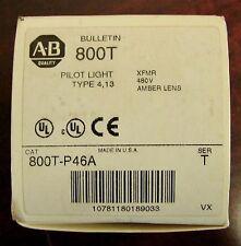 ALLEN BRADLEY Type XFMR Amber Lens Pilot Light 480V 800H P46A