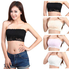 Sexy Black / White Lace Bandeau XS Strapless Women Crop Boob Tube Top Shirt Vest