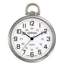 Gotham Men's Silver-Tone Thin Railroad Open Face Quartz Pocket Watch # Gwc15026S