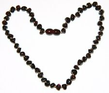 Baltic amber baby necklace, dark cherry rounded - baroque beads 33 cm /13 inch