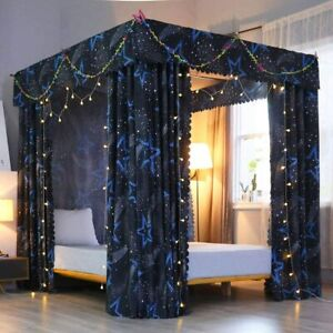 Solid Four Corner Post Bed Curtain Canopy Mosquito Net for Boys Kids Twin, Star