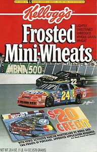 Jeff Gordon--Bobby Labonte--1994 Kellogg's Frosted Mini-Wheats Box Panel--NASCAR