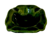 VINTAGE ASHTRAY GREEN Drip Glaze Ceramic Pottery Green RETRO HOME DECOR
