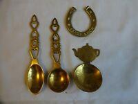 Vintage Brass Love Spoons x 2 Tea Caddy Spoon, Lucky Horse Shoe