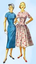 1950s Vintage Simplicity Sewing Pattern 1445 Uncut Misses Dress Size 14 32 Bust
