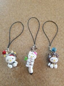 Lot of 3 Sanrio Hello Kitty Cow Fox Teddy Bear Figure Cell Phone Charm Costume