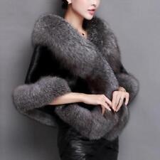 Women New Winter Warmer Luxury Faux Fur Long Shrug Lot Party Shawl Cape Jacket