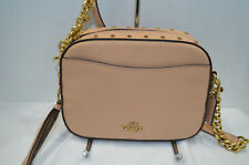 NWT $350 Coach 35514 Nude Pink Leather Crystal Rivets Crossbody Camera Bag beige