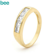 3x3mm Simulated Diamond 9k 9ct Solid Yellow Gold Eternity Ring Size P 7.75
