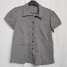 Ladies E-VIE Buttoned Shirt Size 18 Black Gingham Cotton Short Sleeve Workwear