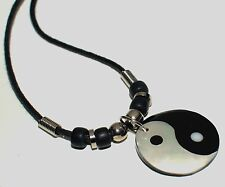 Ying Yang Pendant Necklace yin yang black white feng shui cord necklace M.O.P
