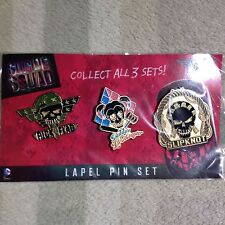 Suicide Squad Harley Quinn, Slipknot, Rick Flag 3 Piece Lapel Pin Set New DC