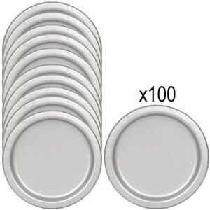 SILVER PAPER PLATES Pack of 100 - 23cm Birthday Party Picnic Catering Tableware