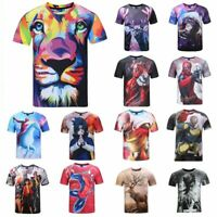 Fashion Men's 3D Cartoon Printed T-shirts Short Sleeve Funny Tee New Casual Tops