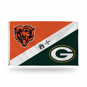 Green Bay Packers / Chicago Bears House Divided Indoor Outdoor 3x5 Banner Flag
