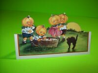 Vintage Halloween Postcard Whitney Diecut Art Stand Up Big Headed Goblins & Cat