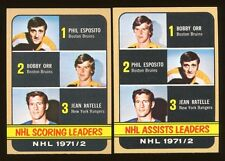 2 card lot 1972 Topps #62 Assists Leader, #63 Scoring Leaders Bobby Orr Esposito