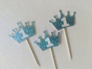 12 First Birthday Crown1 Cupcake Toppers blue first birthday one number 1 boy