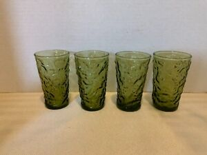 Vintage Anchor Hocking ?  Crinkle Green 4 pc  Juice Drinking Glass Tumblers 4""