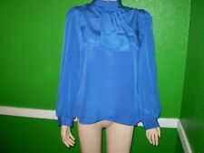 JOXELL VINTAGE SILKY JABOT SHIRT TOP DRESS SUIT BLOUSE FULL BACK BUTTON BLUE