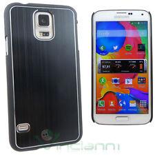 Custodia cover rigida effetto METALLO BRUSHED per Samsung Galaxy S5 G900F nero