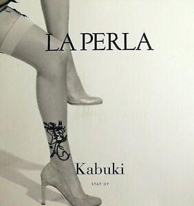 New LA PERLA KABUKI Floral Stockings High 12 Den S 8-9 Nude Black Italy Bridal