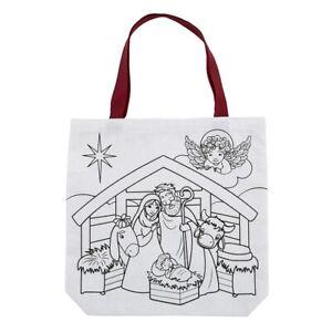Colour Your Own Nativity Scene Christmas Christian Children's Tote Bag Kids Gift