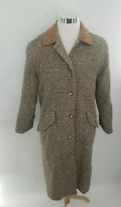 LL Bean Womens Medium Petite Wool Blend Brown Speckle Tweed Over Coat Long Vtg