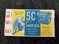 Rare 1960 USC Trojans vs Georgia Bulldogs Football NFL Sports Game Ticket Stub