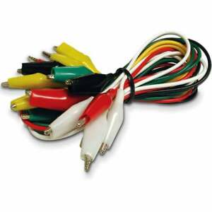 Crocodile Test Leads Clamps Wire With Aligator Clips Coloured Cable Wire x 10