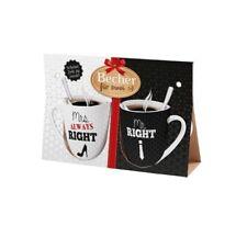 LaVida Becher für zwei Mrs. always Right - Mr. Right Kaffeetassen für 2