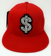 MONEY Snapback Cap Hat Cash $$$ 100% Cotton Adult OSFM Red NWT