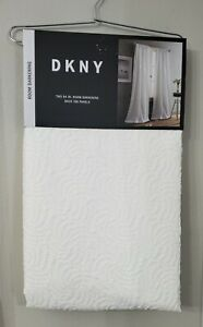 DKNY Cloud White Textured 2 Back Tab Panels Room Darkening Window Curtains 50x84