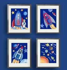 Space rocket, alien, and planet wall art prints for a boy bedroom or nusery.