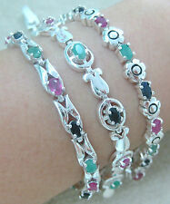 925 STERLING SILVER REAL NATURAL MULTI COLOUR EMERALD SAPPHIRE RUBY BRACELET