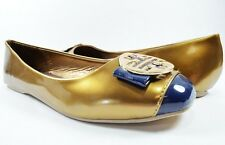 Women Flats Comfort Fashion Two Tone Big Logo Design Patent Leather