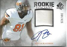 Justin Blackmon 2012 SP Authentic Jersey Patch On Card Auto 384/425 Cowboys RC