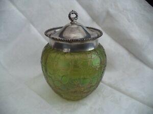 Loetz green crystal biscuit jar cracker barrel rosy iridescence silverplate lid