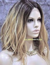 "20"" Bob Wavy Golden Blonde Dark Brown Full Lace Front Wig Heat Ok Hair Piece"