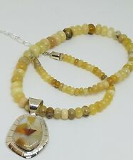 Jay King DTR Sterling Silver Yellow Opal Beaded Necklace Inlay Pendant