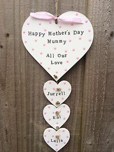 Personalised Plaque Sign Mothers Day Present Gift Mum Heart