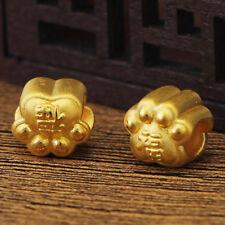 New Pure 24k Yellow Gold Pendant / 3D Lovely Dog Paw Pendant 10mm H 1 pcs