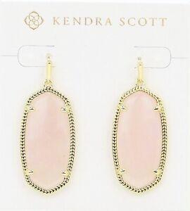 Kendra Scott Elle Dangle Earrings in Rose Quartz and Gold Plated