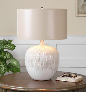 AGED TEXTURED IVORY FIRE GLAZED CERAMIC GEORGIOS TABLE LAMP UTTERMOST 26194