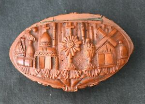 19th Century carved Napoleonic coroso nut box, prisoners of war