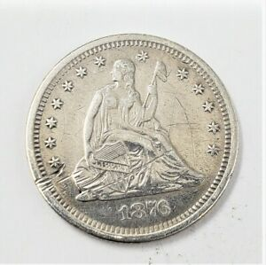 Cleaned & Scratch 1876 S Seated Liberty Silver Quarter 25c - You Grade It - H42