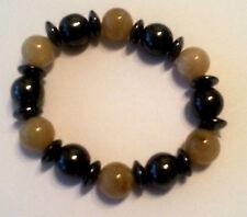 NUEVO Joya MODERNA Pulsera Magnética Hematites beige perla de plástico 12mm #135